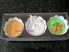 Conjunto de 3 cupcakes de páscoa