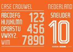 Wim Crouwel designs typeface for Holland's World Cup 2014 kit. Via www.dezeen.com
