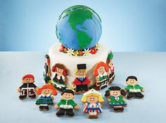 Around The World Cake, I love it! Wouldn't this make a great Earth Day or Thinking Day Cake!