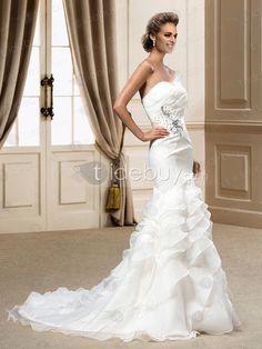 スイートハートのフリルチャペルマーメイドウェディングドレス