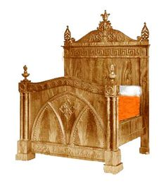 Gothic Head and Footboard Bed