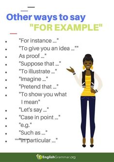 "Other Ways to Say ""For Example"" - - # learn english poster design Essay Writing Skills, Book Writing Tips, English Writing Skills, Writing Words, English Lessons, French Lessons, Spanish Lessons, English Vocabulary Words, Learn English Words"