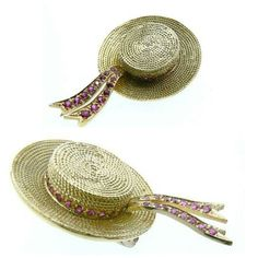 Gondolier cap vintage brooche in gold 18 kt and rubies, all handmade period 1960 - Dogale Jewellery Venice Italy