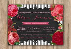 black white red invitation, floral chalkboard invite, PROOF in under 48hrs