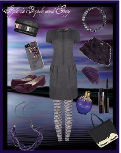 """Style in Purple and Grey"" by tangerinetane ❤ liked on Polyvore"
