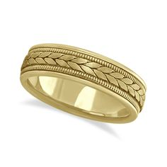 Men's Satin Finish Rope Handwoven Wedding Ring Two-Tone Gold Size: 13 Mens Gold Band, Gold Bands, Cool Wedding Rings, Wedding Bands, Gold Wedding, Trendy Wedding, Gold Chains For Men, Fashion Rings, Men's Fashion