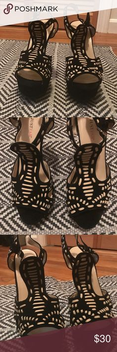 JustFab Faux Suede Platform Sandal Size 7.5; Great condition- minimal wear. Only worn a few times. Leather like material woven in fabric. Cleaning out my closet. Would love to find these fabulous shoes a great new home. JustFab Shoes Sandals