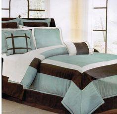 Hamptan Blue/Green and Brown 12 Piece Bed in a Bag Comforter Set - FINAL SALE