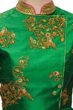 TISHA SAKSENA Emerald green embroidered drape set available only at Pernia's Pop-Up Shop.