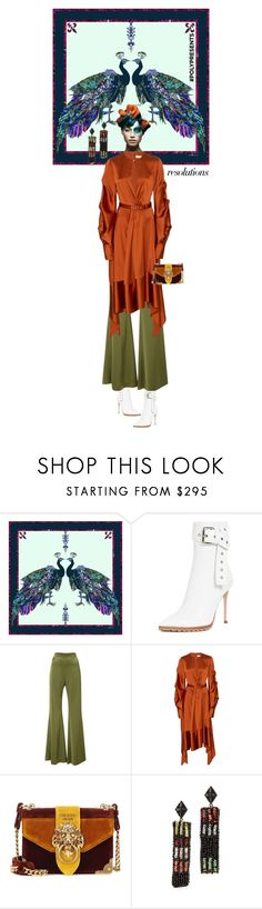 """""""#PolyPresents: Peacock"""" by ladyarchitect ❤ liked on Polyvore featuring Astrid Sarkissian, Monse, Galvan, Jonathan Simkhai, Prada, Lulu Frost, contestentry and polyPresents"""