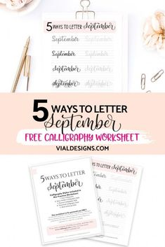 5 Ways to Letter September plus FREE practice worksheet by Vial Designs | Modern Calligraphy for beginners | Lettering for Bullet Journal #vialdesigns #bulletjournal #bulletjournallettering #learnlettering #calligraphypractice
