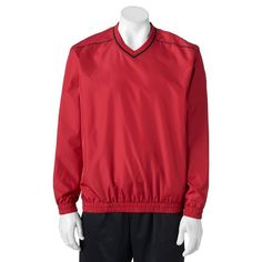 Men's Grand Slam Classic-Fit Performance Windbreaker Golf Jacket, Size: Medium, Dark Red