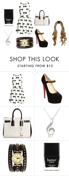 """Black"" by alputrinuraini ❤ liked on Polyvore featuring H&M, Christian Louboutin, Yves Saint Laurent and Butter London"