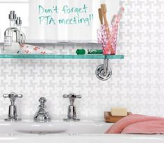 Bathroom mirror used as message board
