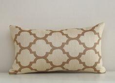 Moroccan Pillow Cover, Taupe Pillow, Cream Pillow, Modern Pillow, Neutral, Decorative Pillow, Trellis Pillow, Quatrefoil