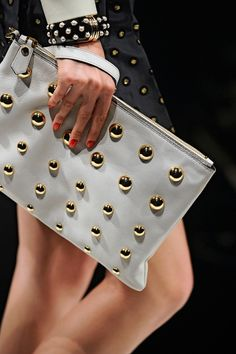 white with gold studs leather handbag clutch