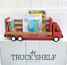 DIY Wood Projects ~ I am dying over the cuteness of this truck shelf for a child's room. Check your scrap wood stash... you just might be able to make this today!