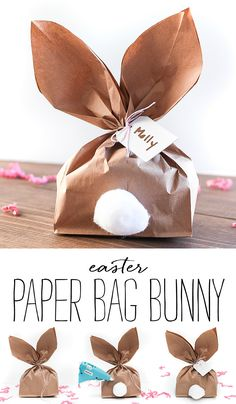 How to make a paper bag bunny for Easter. How to make bunny ears from paper bag. How To Make A Paper Bag, Paper Bunny, Paper Bag Crafts, Chocolate Easter Bunny, Bunny Bags, Easter Traditions, Bunny Crafts, Easter Treats, Easter Baskets
