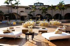 The Fess Parker Resort Santa Barbara - Plaza del Sol - lounge furniture. yellow and brown wedding