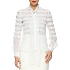 Oscar de la Renta Scalloped Lace-Trimmed Tie-Neck Blouse ($1,890) ❤ liked on Polyvore featuring tops, blouses, ivory, tie blouse, long neck ties, stand collar blouse, long blouses and white tie neck blouse
