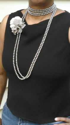 Long grey beaded necklace with flower by TyeriDesigns on Etsy