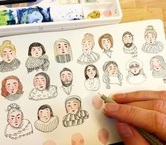 Missing Iceland, so I'm doodling the facial expressions of Icelandic strangers…