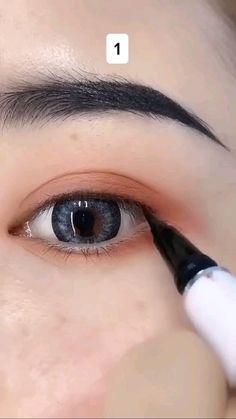 Doll Eye Makeup, Smoke Eye Makeup, Korean Eye Makeup, Makeup Eye Looks, Eye Makeup Art, Eyebrow Makeup, Skin Makeup, Korean Eyeliner, Cat Eye Eyeliner