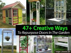47+ Creative Ways To Repurpose Doors In The Garden - Recycling and repurposing is not new… garden lovers have been doing it for years. Gardeners have been a resourceful bunch. In the past we've shared posts on garden art, pallet planters and making a greenhouse from old windows. Now we've put together a pinterest collection of repurposed doors used in the garden. Potting benches, garden sheds, a trellis to decorations on a fence.