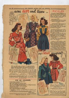 Le Petit Echo de la Mode women's fashion & needlecraft magazine - December 1944 winter issue - French 40s vintage