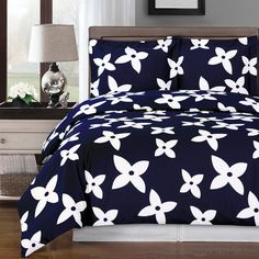 Modern Floral Navy Blue White Cotton Duvet Cover Set