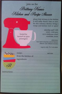 My friends bridal shower invite - the bottom detaches for a recipe card!
