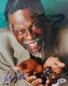 Bill Russell Signed 8x10 Boston Celtics Championship Rings Photo SI