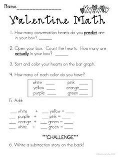 VALENTINE'S DAY BUNDLE {MATH, WRITING, AND A PARENT CARD CRAFT} - TeachersPayTeachers.com