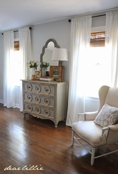 Wall color Sherwin Williams Moonshine matte finish; trim Benjamin Moore Simply White semi-gloss; Curtains Ikea Ritva panels.