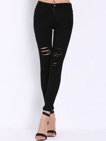 High Waist Ripped Denim Black Pant Stylish Cosy Curved Jeans US$16.82