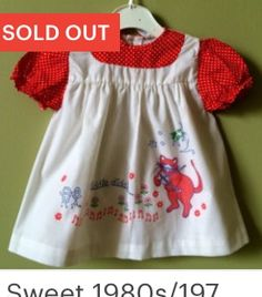 Vintage mothercare baby dress with nursery rhyme and cats