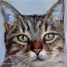 """Daily Paintworks - """"Pretty Kitty"""" - Original Fine Art for Sale -  © J. Dunster♥•♥•♥"""
