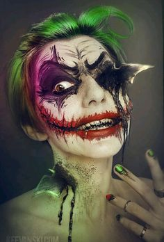 Joker makeup- Love the batarangs