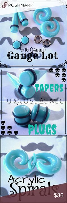 "9/16""  14mm Gauges, Tapers, Plugs, Spirals Lot Includes:  Turquoise Acrylic Tapers. Turquoise Acrylic Plugs Turquoise Acrylic Spirals  316L Stainless Steel Black Stripe Rimmed Screw-Fit Tunnels  ??(^^There is a tiny Crack in one gauge in the Glass rimmed Top see Separate Listing for more info^^)?? 8 Black Bands  All are Size 9/16 , 14mm Majority Are Brand New Never Worn. They will be sanitized before Shipping out.  No Lowballing please! Open to a reasonable offer only. TAGS: Gauges Tapers…"
