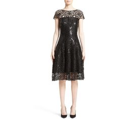 Women's Talbot Runhof Sequin Cutout Fit & Flare Dress ($2,295) ❤ liked on Polyvore featuring dresses, black, lace cocktail dress, lace dress, see through dress, sheer lace dress and flare sleeve dress