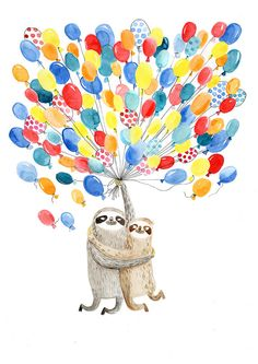 Sloths in love. What else can I say? This print could be a great wedding gift. Taken from my watercolor illustration. ▲ It is printed on super