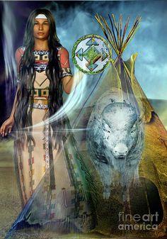White Buffalo Calf Woman Digital Art - White Buffalo Calf Woman 2 by Shadowlea Is Native American Paintings, Native American Pictures, Native American Beauty, American Spirit, American Indian Art, Native American Indians, American Bison, Eskimo, Indian Artwork