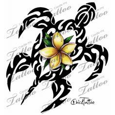 Marketplace Tattoo Polynesian Plumeria Honu Tahitian Style #12992 | CreateMyTattoo.com