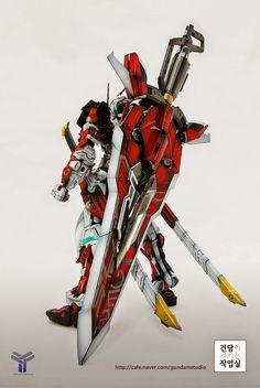 Custom Build: MG Gundam Astray Red Frame Kai + Caletvwlch Sword Dong Lee, Astray Red Frame, Japanese Robot, Gundam Astray, Gundam Custom Build, Custom Paint Jobs, Gundam Model, Sword, Animation