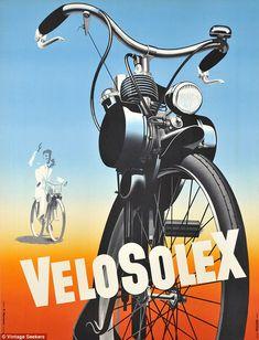 1950 Velosolex original cycling poster. http://www.boxerbranddesign.com/blog/