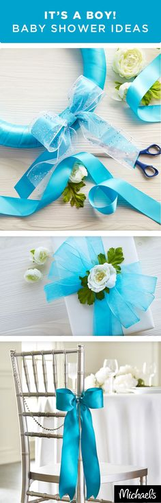 Blue Baby Shower Ideas - Celebrate Mom-to-be with a beautiful blue baby shower. DIY details make all of the difference. Use elegant ribbons to dress up gift boxes and add a pop of color to shower décor. Find everything you need for these DIY details at your local Michaels store.