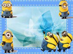 Minions en Fondo Azul: Mini Kit para imprimir Gratis. | Ideas y material gratis para fiestas y celebraciones Oh My Fiesta!