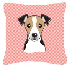 Checkerboard Pink Jack Russell Terrier Canvas Fabric Decorative Pillow BB1261PW1414