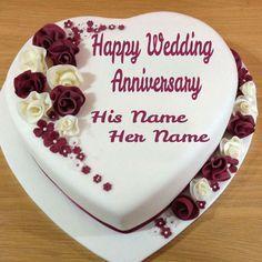Write Couple Name On Wedding Anniversary Heart Cake