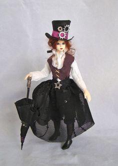 "The Steampunk lady - mini doll for 1"" scale dollhouse - porcelain OOAK miniature by Marina DMA. $135.00, via Etsy."